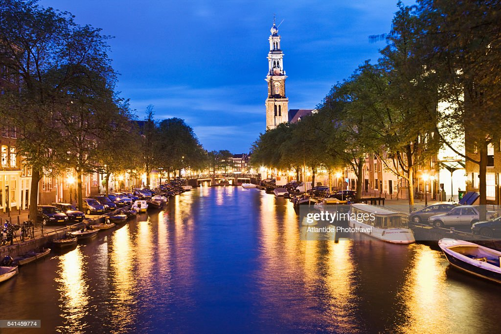 The Keisersgracht canal and the bell-tower of Westerkerk, Amsterdam