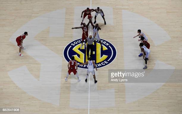The Kentucky Wildcats and Arkansas Razorbacks tip off during the championship game at the 2017 Men's SEC Basketball Tournament at Bridgestone Arena...