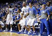 The Kentucky Wildcats bench celebrates during the game against the Boston Terriers at Rupp Arena on November 21 2014 in Lexington Kentucky
