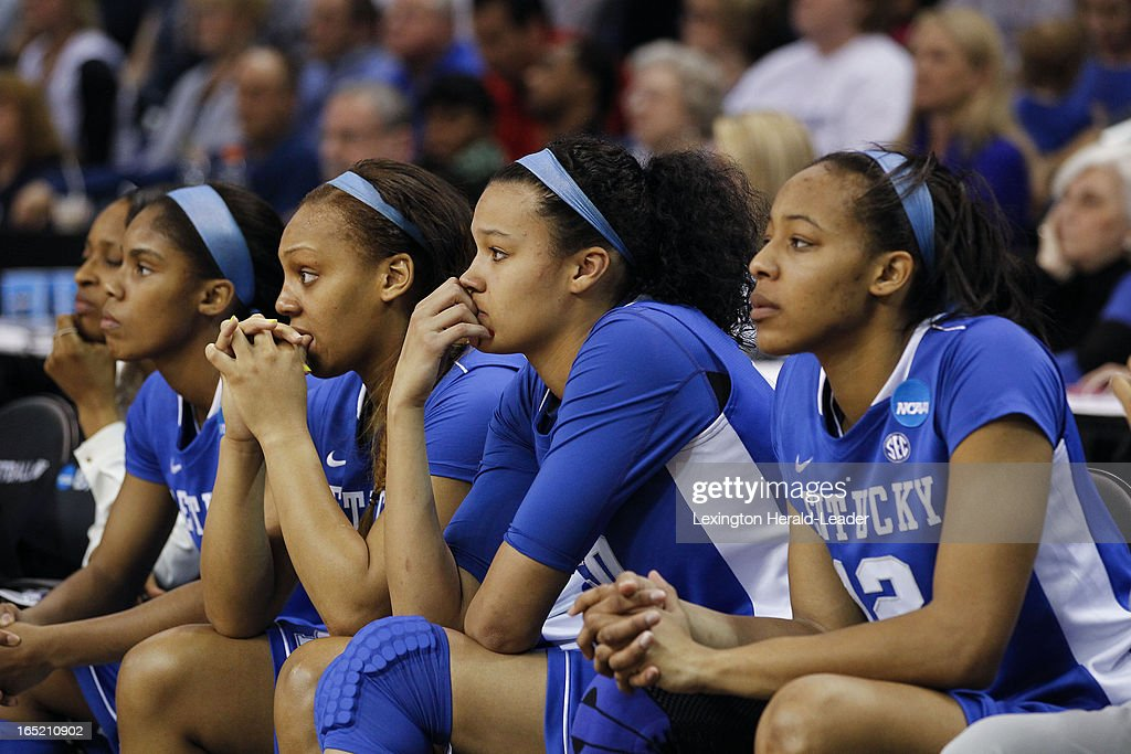 The Kentucky Wildcats bench watch the final seconds tick away in their NCAA women's regional final game against Connecticut at Webster Bank Arena in Bridgeport, Connecticut, Monday, April 01, 2013. UConn won, 83-53.