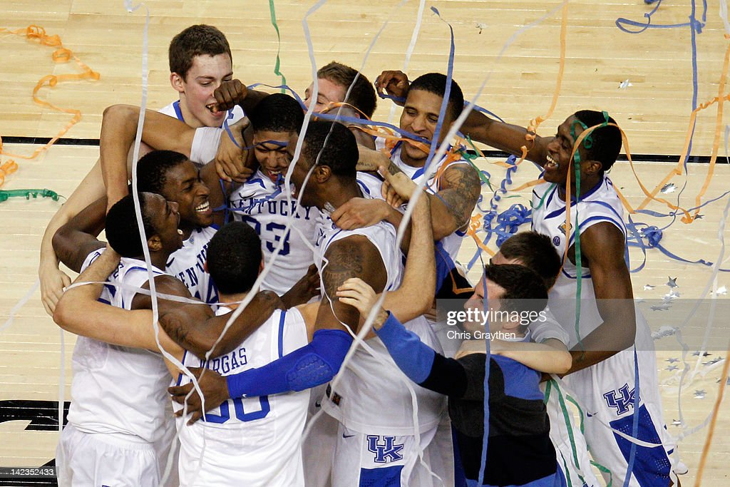 The Kentucky Wildcats celebrate defeating the Kansas Jayhawks 67-59 in the National Championship Game of the 2012 NCAA Division I Men's Basketball Tournament at the Mercedes-Benz Superdome on April 2, 2012 in New Orleans, Louisiana.