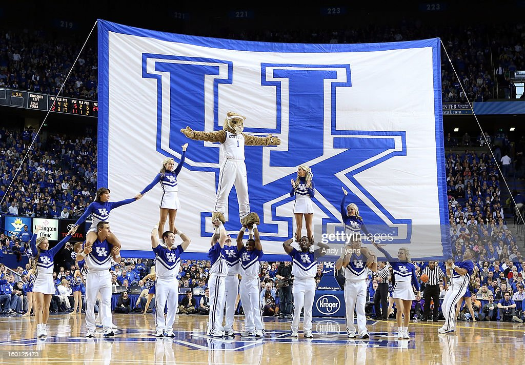 The Kentucky Wildcats cheerleaders perform during the game against the LSU Tigers at Rupp Arena on January 26, 2013 in Lexington, Kentucky.