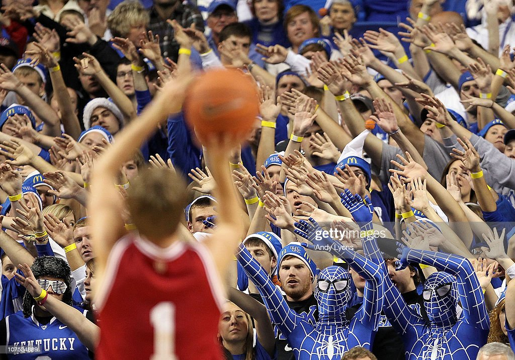 The Kentucky Wildcats fans try to distract Jordan Hulls of the Indiana Hoosiers as he shoots a free throw during the game against on December 11 2010...