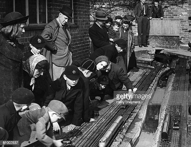 The Kenview Model Railway set up at Deansway East Finchley 30th March 1943 It was erected by children under the supervision of its owner Mr A G Beach
