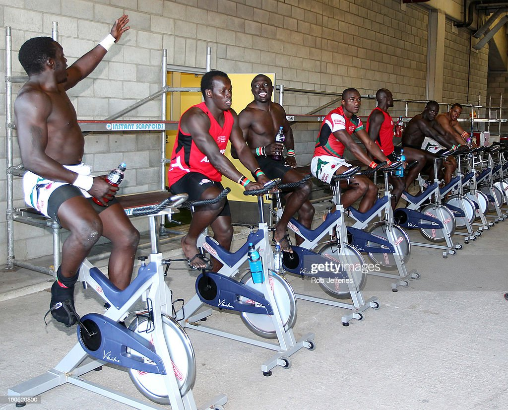 The Kenya team warms down during the Hertz Sevens, Round four of the HSBC Sevens World Series Westpac Stadium on February 2, 2013 in Wellington, New Zealand.