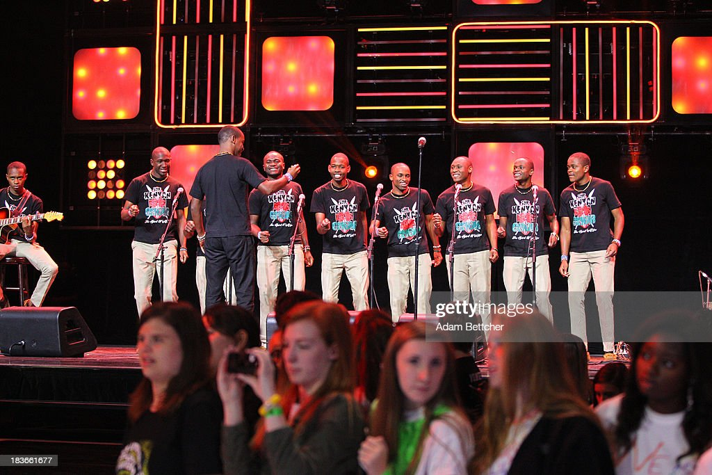 The Kenyan boys choir performs during the We Day Minnesota event at the Xcel Energy Center in St. Paul, Minnesota on October 8, 2013