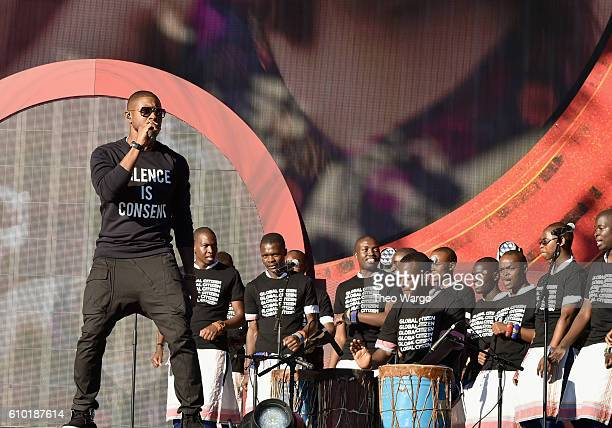 The Kenyan Boys Choir performs onstage with Usher at the 2016 Global Citizen Festival In Central Park To End Extreme Poverty By 2030 at Central Park...