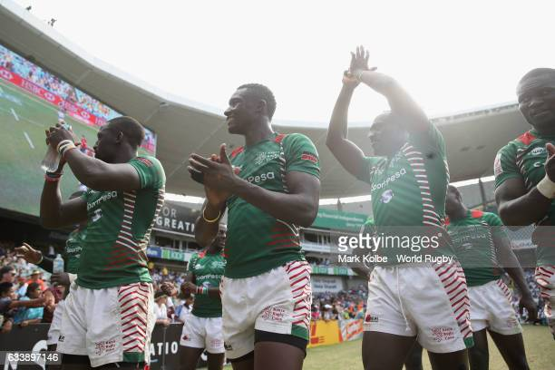 The Kenyan players thanks the crowd after their final match in the 2017 HSBC Sydney Sevens at Allianz Stadium on February 5 2017 in Sydney Australia