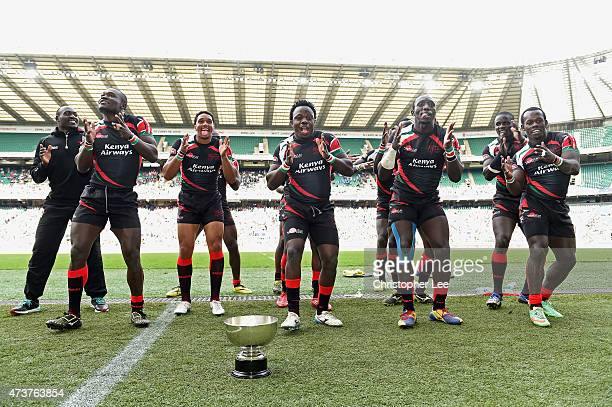The Kenyan team dance as they celebrate winning the Bowl Final match between Kenya and Argentina in the Marriott London Sevens at Twickenham Stadium...