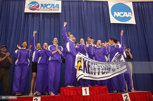 The Kenyon team celebrates their first place finish following the Division 3 Women's Swimming and Diving Championship held at the St Peters RecPlex...