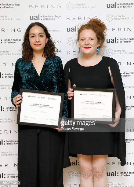 The Kering Award for Sustainable Fashion winners Laure Fernandez and Charlie Wilkinson during the 2017 Kering Talk at the London College of Fashion...