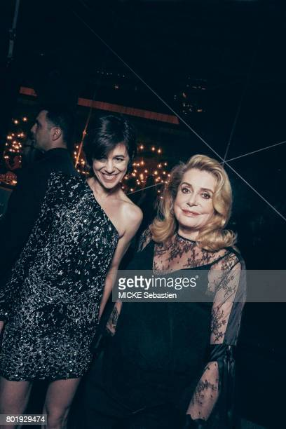 the Kering Woman in motion evening organised by Kering in Cannes Charlotte Gainsbourg wearing Saint Laurent and Catherine Deneuve May 21 2017...