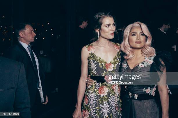 the Kering Woman in motion evening organised by Kering in Cannes Charlotte Casiraghi and Salma Hayek May 21 2017 Charlotte Casiraghi Salma Hayek