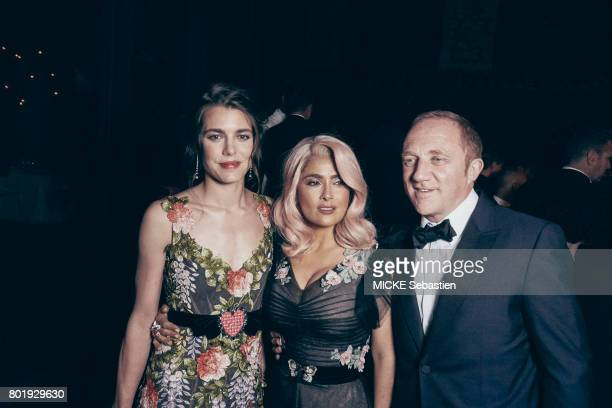the Kering Woman in motion evening organised by Kering in Cannes Charlotte Casiraghi Salma Hayek and her husband FrancoisHenri Pinault May 21 2017...