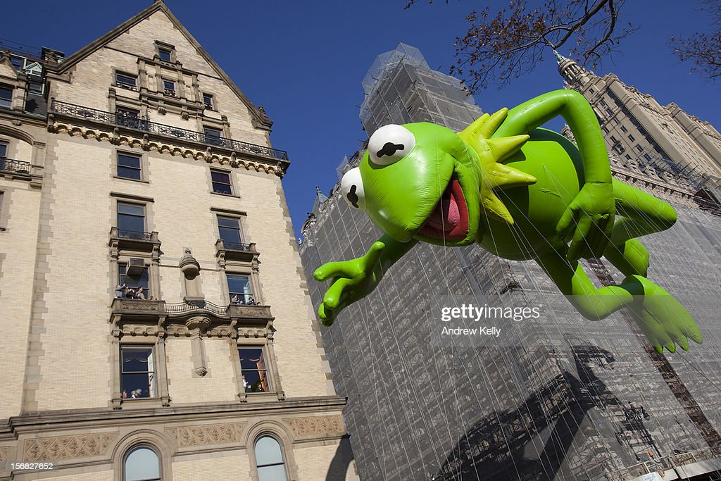 The Kermit the Frog balloon makes its way down Central Park West during the 86th Annual Macy's Thanksgiving Day Parade November 22, 2012 in New York City. Macy's donated tickets and transportation to this year's Thanksgiving Day Parade to 5,000 people from neighborhoods hardest hit by Superstorm Sandy.