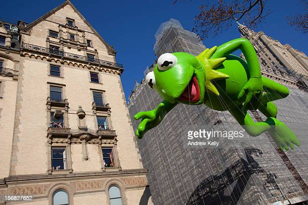 The Kermit the Frog balloon makes its way down Central Park West during the 86th Annual Macy's Thanksgiving Day Parade November 22 2012 in New York...