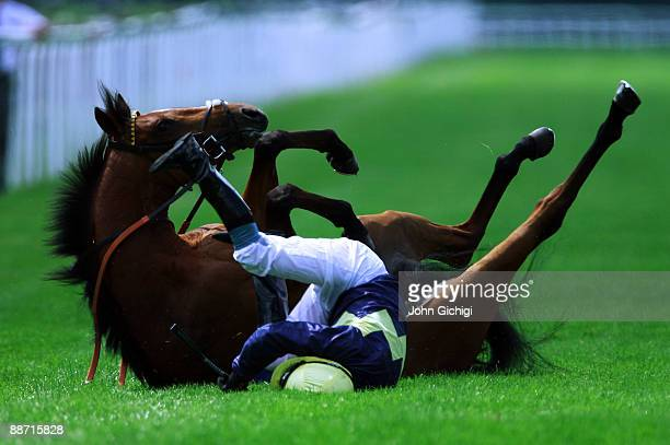 The Kidnapper ridden by Philip Nolan throws off its rider before the Toteplacepot Maiden Stakes at Royal Windsor Racecourse on June 27 2009 in...