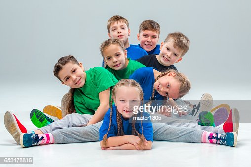 The kids dance school, ballet, hiphop, street, funky and modern dancers : Stock Photo
