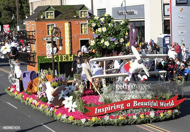 The Kiehl's float is displayed on the parade route during the 126th Rose Parade Presented by Honda on January 1 2015 in Pasadena California