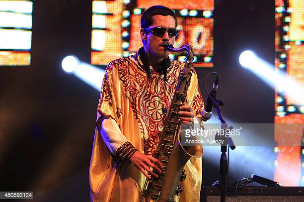 The Kif Samba group perform during the 17th edition of the Gnaoua World Music Festival in Essaouira Morocco on June 13 2014 Gnawa music is a rich...
