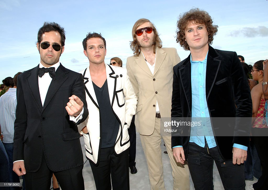 <a gi-track='captionPersonalityLinkClicked' href=/galleries/search?phrase=The+Killers+-+Band&family=editorial&specificpeople=3954390 ng-click='$event.stopPropagation()'>The Killers</a> during 2005 MTV Video Music Awards - White Carpet at American Airlines Arena in Miami, Florida, United States.