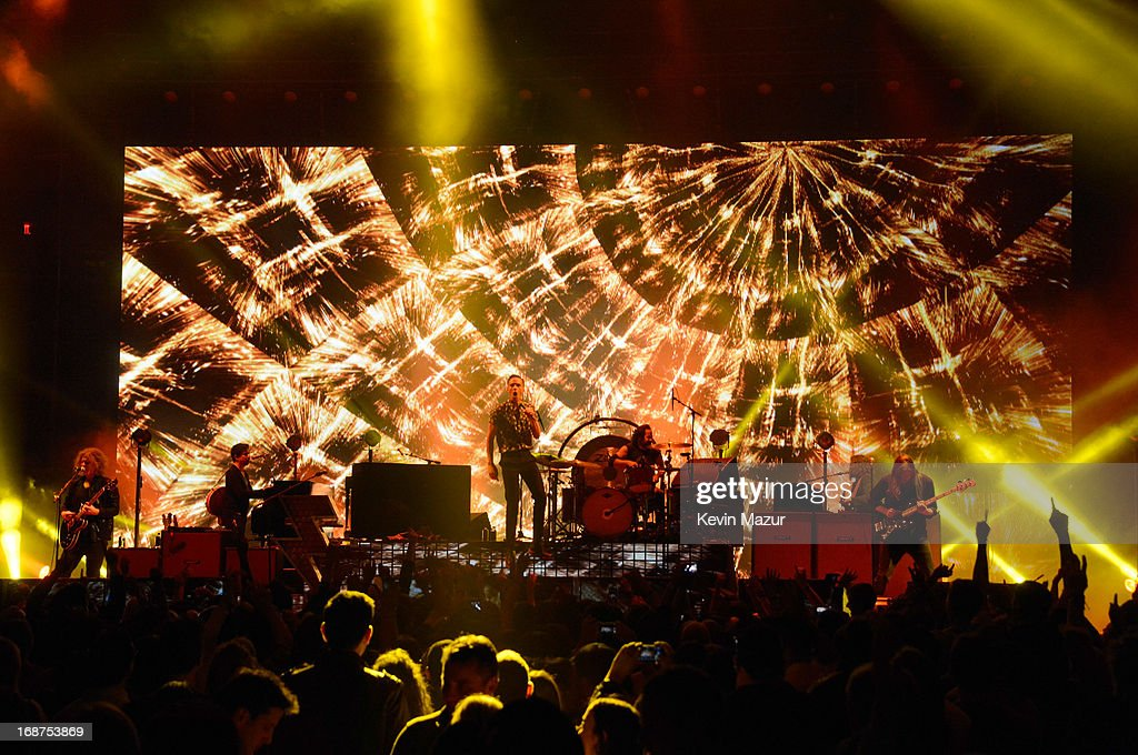 The Killers perform during their 'Battle Born' tour at Madison Square Garden on May 14, 2013 in New York City.