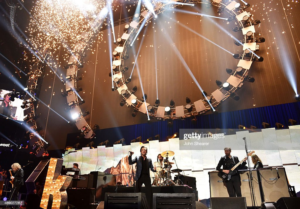 The Killers perform onstage at the 2015 iHeartRadio Music Festival at MGM Grand Garden Arena on September 18 2015 in Las Vegas Nevada