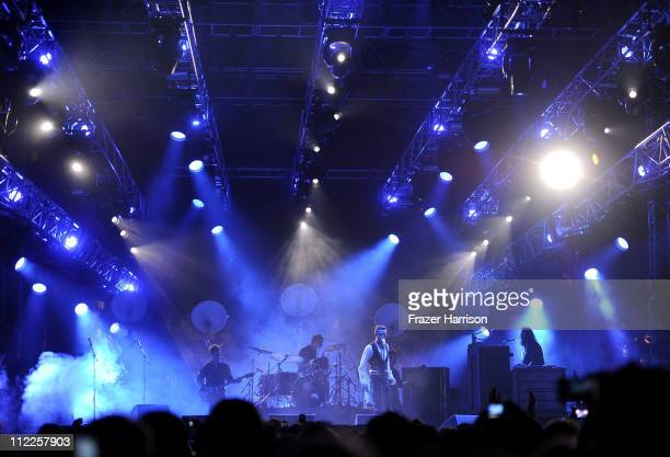 The Killers perform with musician Brandon Flowers during Day 1 of the Coachella Valley Music Arts Festival 2011 held at the Empire Polo Club on April...