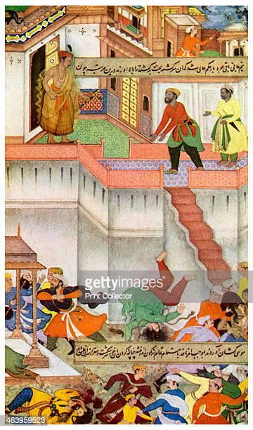 The killing of Adham Khan by Akbar c1600 Scene from the Akbarnama The Mughal Emperor Akbar killing Adham Khan one of his generals by throwing him...