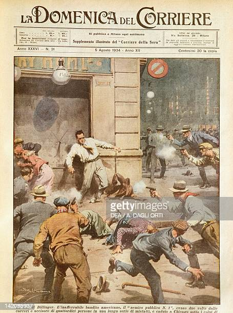 The killing of Dillinger the famous American gangster Illustrator Achille Beltrame from La Domenica del Corriere 5th August 1934