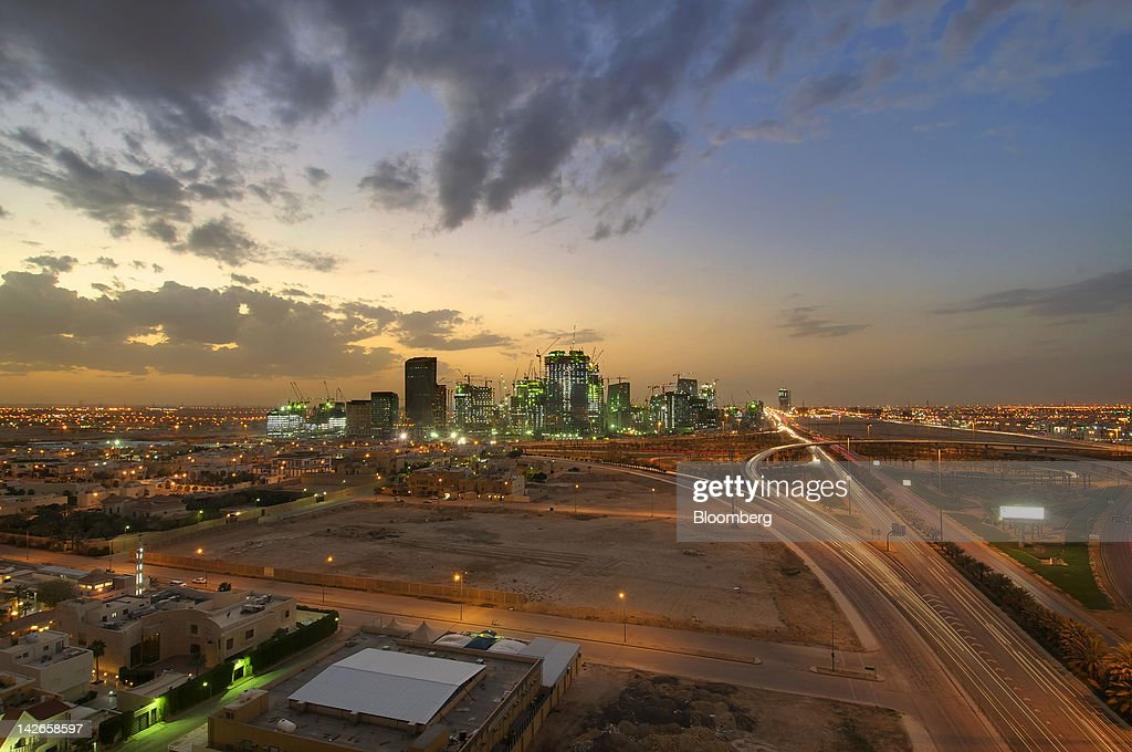 The King Abdullah financial district is seen illuminated at night in Riyadh Saudi Arabia on Monday April 9 2012 Saudi Arabia's gross domestic product...