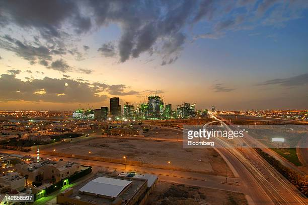 The King Abdullah financial district is seen illuminated at night in Riyadh Saudi Arabia on Monday April 9 2012 Saudi Arabia's gross domestic product...