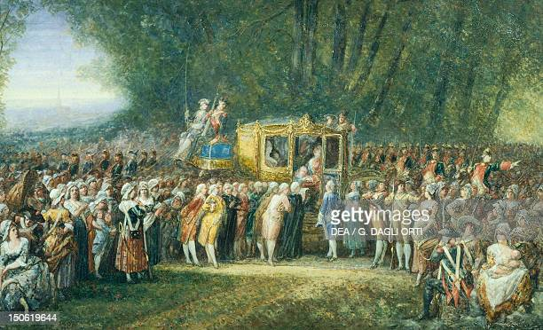 The King and Queen leave Versailles watercolour by Maulet 1789 French Revolution France 18th century