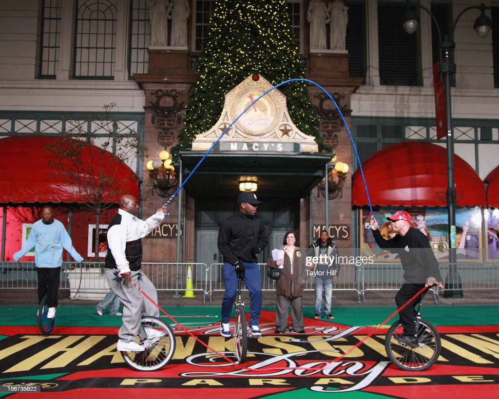 The King Charles Unicycle Troupe of the Bronx perform at Day One of the 86th Anniversary Macy's Thanksgiving Day Parade Rehearsals at Macy's Herald Square on November 19, 2012 in New York City.