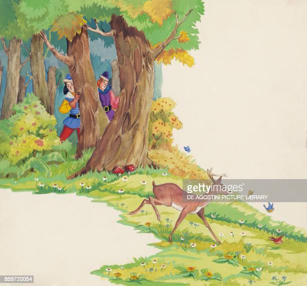 The king hunters chasing little brother illustration for Brother and Sister fairy tale by the Grimm brothers Jacob and Wilhelm drawing