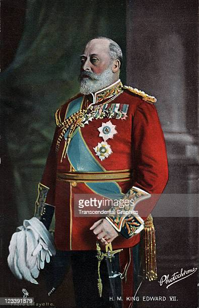 The King of Great Britain His Majesty King Edward VII poses for a formal portrait postcard for the Tuck company mid 1900s in London England