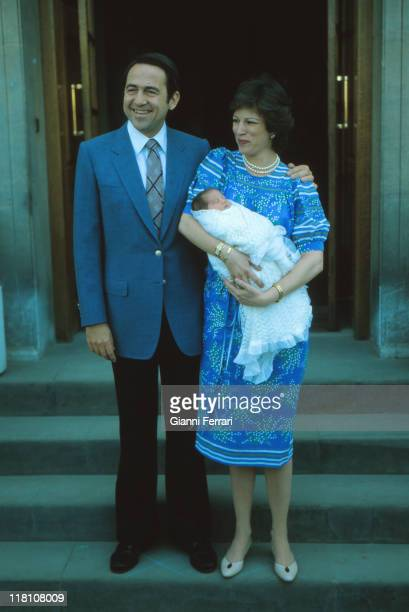 The King of Greece Constantine and Anamaria at Zarzuela Palace with his daughter Theodora Madrid Spain