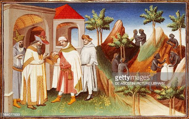 The King of Lar buying pearls miniature from the Livres des merveilles du monde French version of the The Travels of Marco Polo by Marco Polo and...