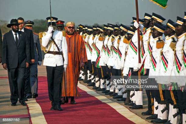 The King of Morocco Mohammed VI reviews the guard of honour next to president of South Sudan Salva Kiir during a welcoming ceremony on February 1 at...