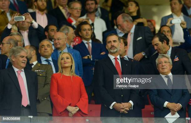 The King of Spain Felipe VI and Cristina Cifuentes President of the Community of Madrid look on prior to a match between Club Atletico de Madrid and...
