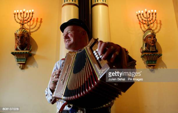 The King of Tory Island Dan Patsy Mac Ruairi with his accordion in the Grand Lodge of Freemasons of Ireland at the photocall to launch the Temple Bar...