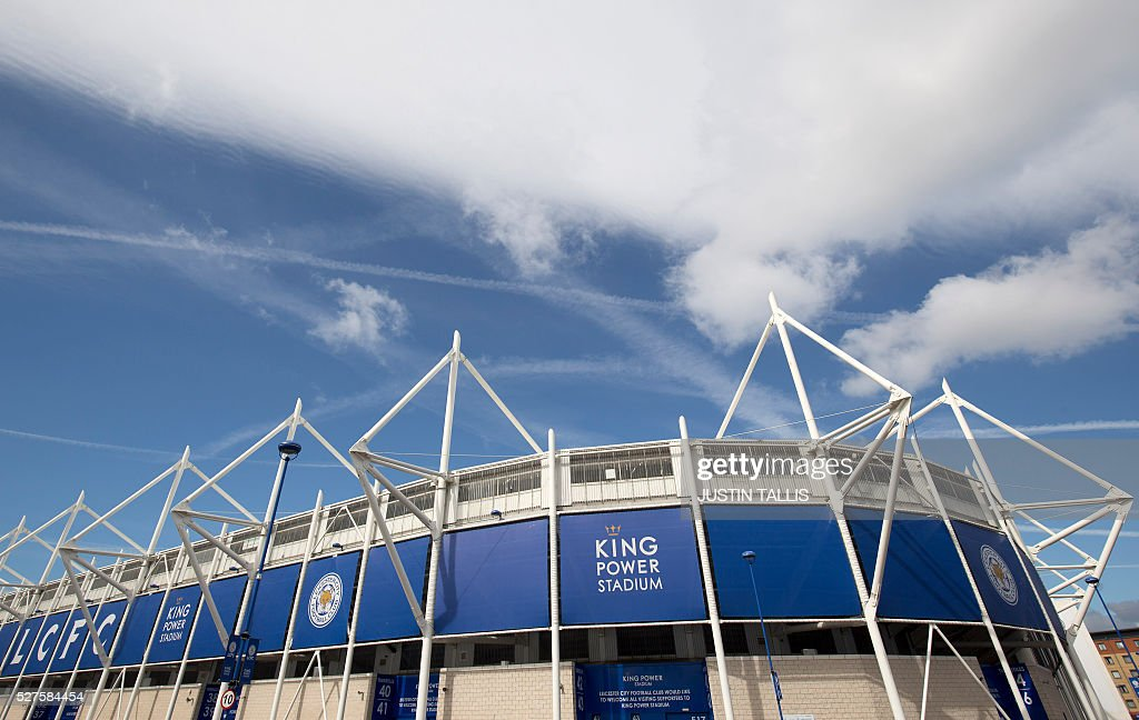 The King Power Stadium, home to Leicester City football club, is seen in Leicester, central England, on May 3, 2016, after the team won the English Premier League on Monday May 2. Thousands celebrated and millions around the world watched in wonder as 5,000-1 underdogs Leicester City completed arguably the greatest fairytale in sporting history by becoming English Premier League champions yesterday. Second-placed Tottenham Hotspur's 2-2 draw at Chelsea late on Monday was enough for last year's relegation battlers Leicester to seal a scarcely credible title after outshining some of football's most glamorous teams. / AFP / JUSTIN
