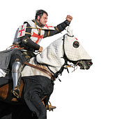King Templar - cavalier on horse isolated on white