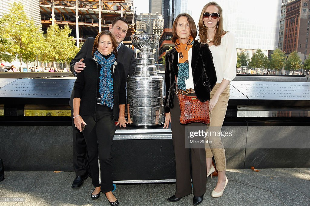 The Kings brought the Stanley Cup to Ground Zero in New York in conjunction with the National Hockey League, the Hockey Hall of Fame and the New York Police Department to pay tribute to former club scouts Garnet 'Ace' Bailey and Mark Bavis. Katherine Bailey, Todd Bailey, Barbara Pothier and Meagan Smith pose for a picture with the Stanley Cup next to the spot where their family member's names are etched on the reflecting pool wall at the 9/11 Memorial site.