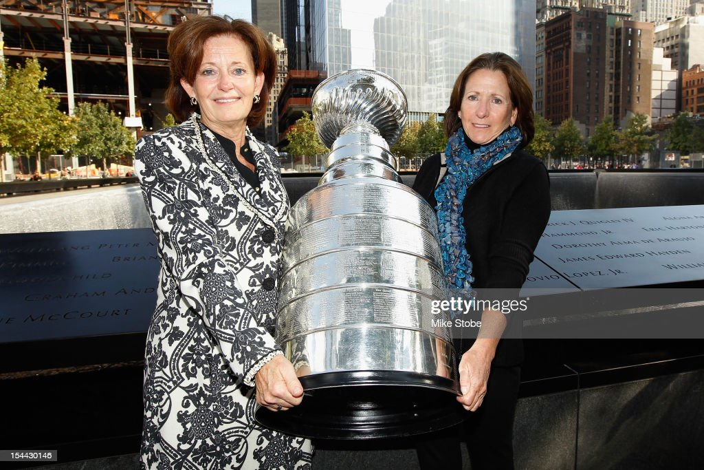 The Kings brought the Stanley Cup to Ground Zero in New York in conjunction with the National Hockey League, the Hockey Hall of Fame and the New York Police Department to pay tribute to former club scouts Garnet 'Ace' Bailey and Mark Bavis. Kathy Bavis Sylvester and Katherine Bailey pose for a picture with the Stanley Cup next to the spot where their family member's names are etched on the reflecting pool wall at the 9/11 Memorial site.