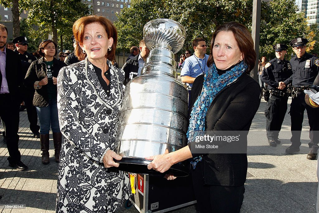 The Kings brought the Stanley Cup to Ground Zero in New York in conjunction with the National Hockey League, the Hockey Hall of Fame and the New York Police Department to pay tribute to former club scouts Garnet 'Ace' Bailey and Mark Bavis. Kathy Bavis Sylvester and Katherine Bailey carry the Stanley Cup to the spot where their family member's names are etched on the reflecting pool wall at the 9/11 Memorial site.