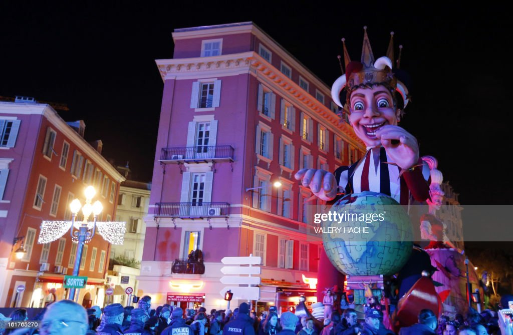 The King's float parades during the Nice carnival on February 15, 2013 in Nice, southeastern France. The Carnival, starting from February 15 until March 6, 2013, will celebrate the 'King of the five continents', marking the 140th anniversary of the French Riviera Nice carnival.