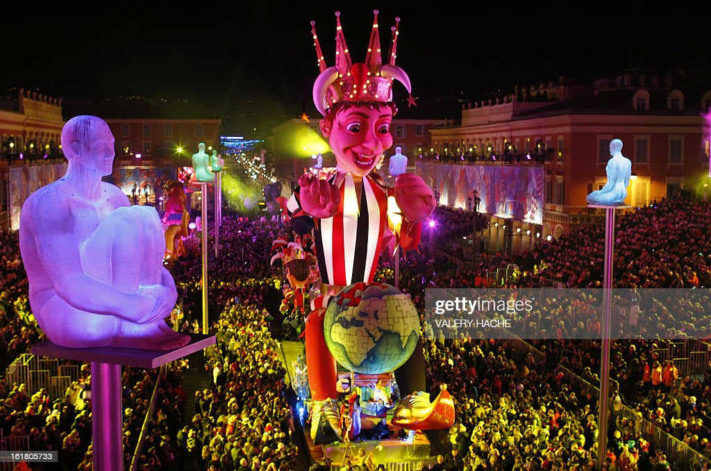 The King's float parades on February 16, 2013 during carnival in the southeastern French city of Nice. The carnival, which ends on March 6, celebrates the King of the Five Continents for its 140th anniversary. HACHE