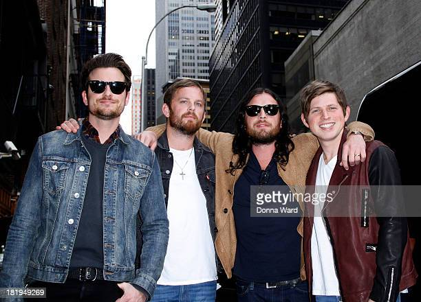 The Kings of Leon leave the 'The Late Show with David Letterman' at Ed Sullivan Theater on September 26 2013 in New York City