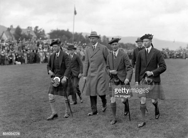 The King's three sonsin kilt's from left to right The Prince of Wales the Earl of Athlone the Duke of York and Prince Henry attend the Braemar...